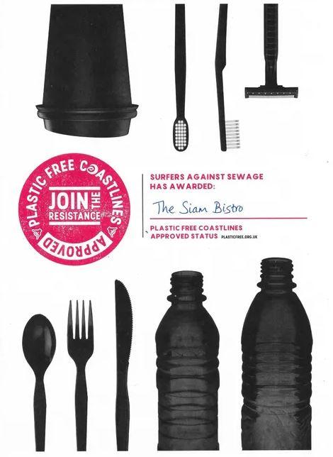 Siam Bistro Plastic Free Certificate