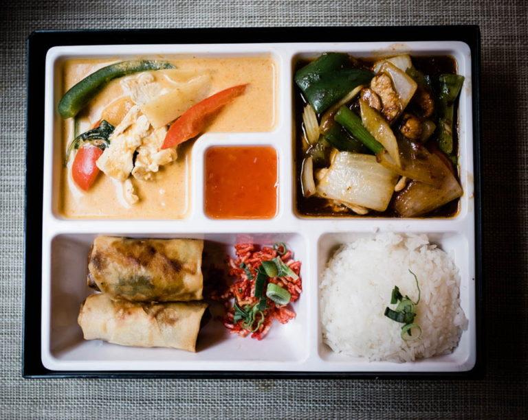 top view of thai bento box